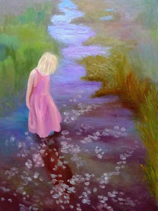 """Hannah's reflection, oil on Gessobord 12x16"""""""