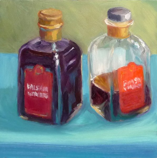 Balsamic Vinegar Bottles, Oil on Gessobord, 6x6""