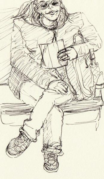 Big Feet & Big Glasses, ink in sketchbook