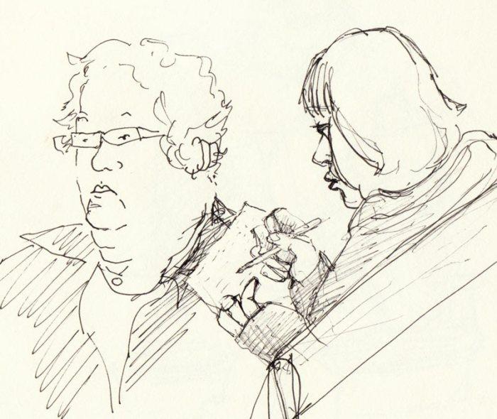 Taking Notes, ink in sketchbook