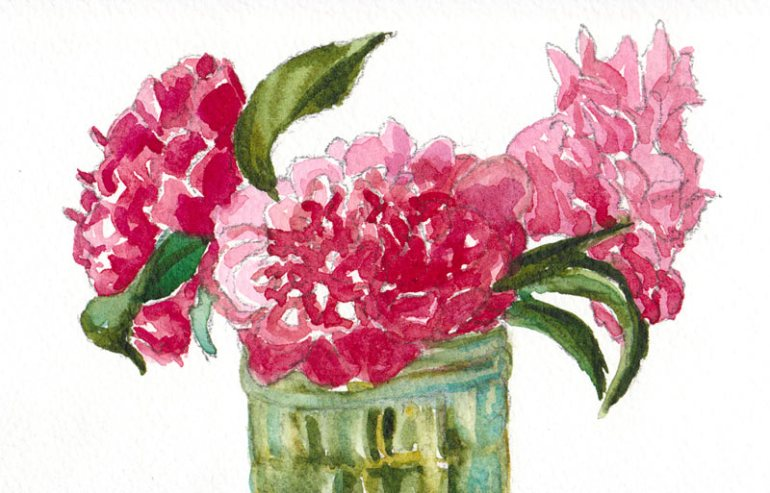 Camelia #3, Watercolor on paper, 4x6""