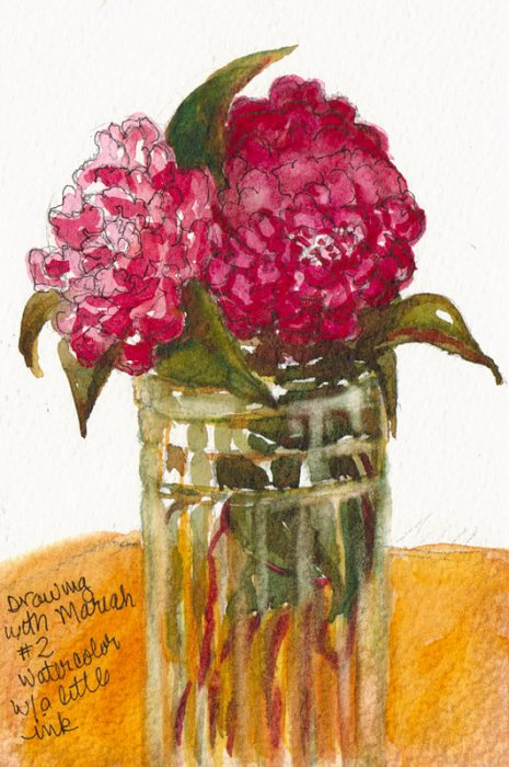 Camelia #2, watercolor on paper, 6x4""