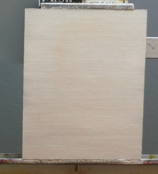 Canvas painted over with white paint