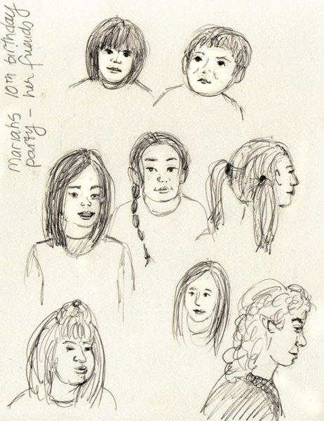 """Mariah's Birthday Guests, pencil drawing, 8x6"""""""