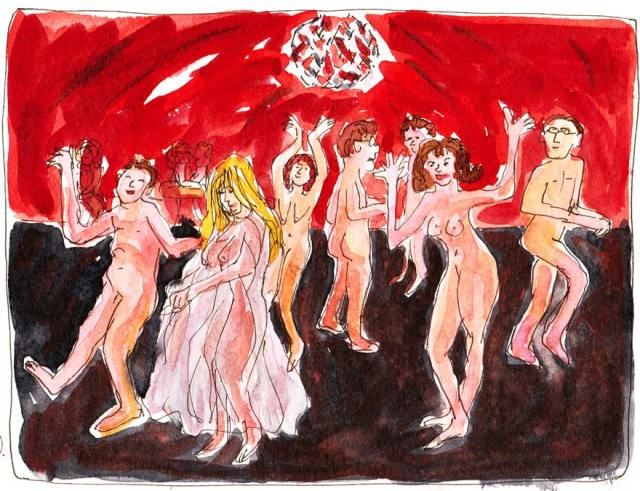 Dancing Nude at the Office Party, Ink & watercolor, Moleskine sketchbook, 5x7""