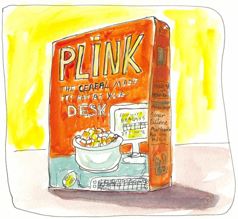 Plink Cereal Dream, ink & gouache, in Moleskine 5x7""