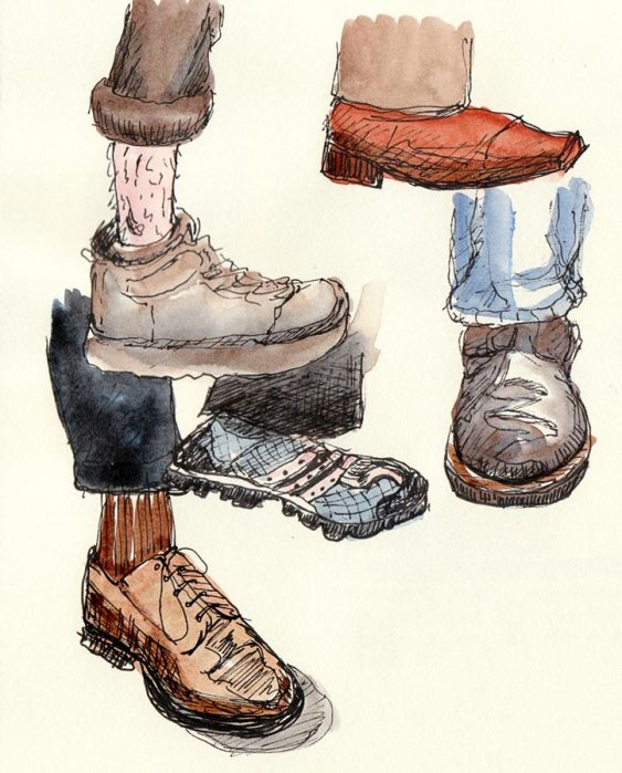 Shoes on subway, ink & watercolor in sketchbook