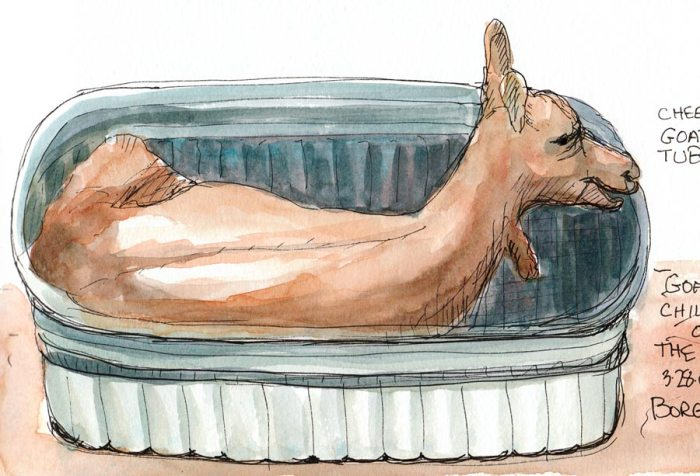 "Goat chilling out in a tub; ink & watercolor in Moleskine 5x7"" sketchbook"