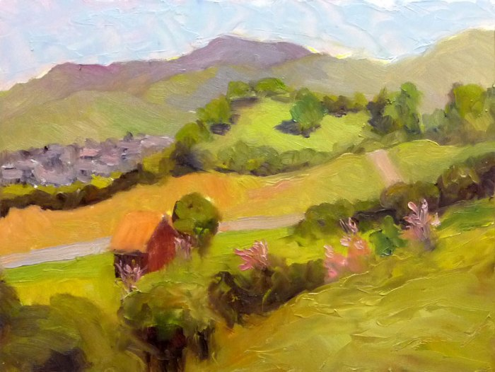 View from Old Borges Ranch; Plein air, Oil on panel, 9x12""