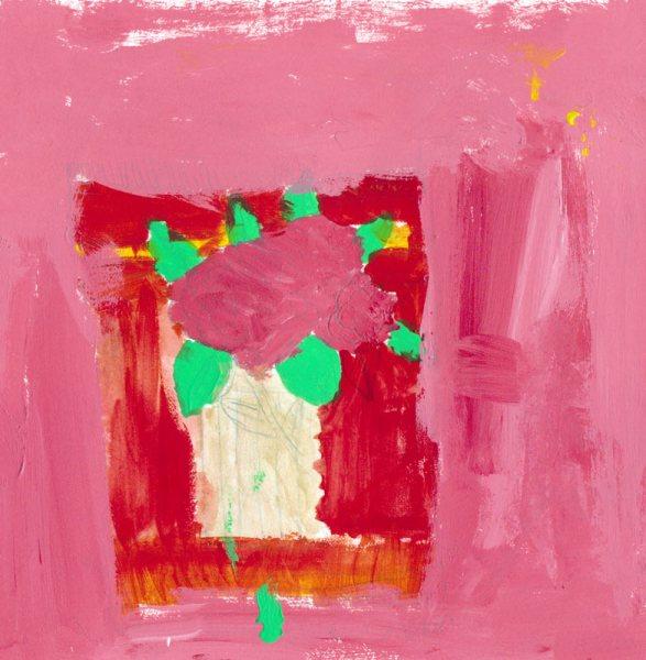 """Mariah's Camelias, acrylic on paper, 8x8"""""""