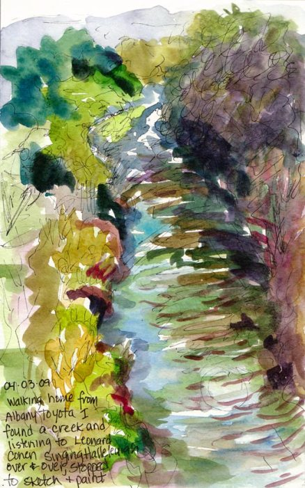 Ranch Market Creek, ink & watercolor in Moleskine 7x5 wc sketchbook