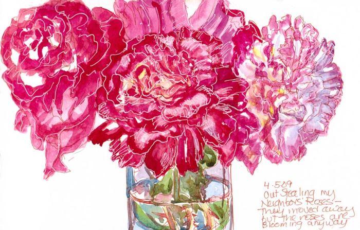 """Stolen Roses, Ink & watercolor, in 5x7"""" wc Moleskine"""