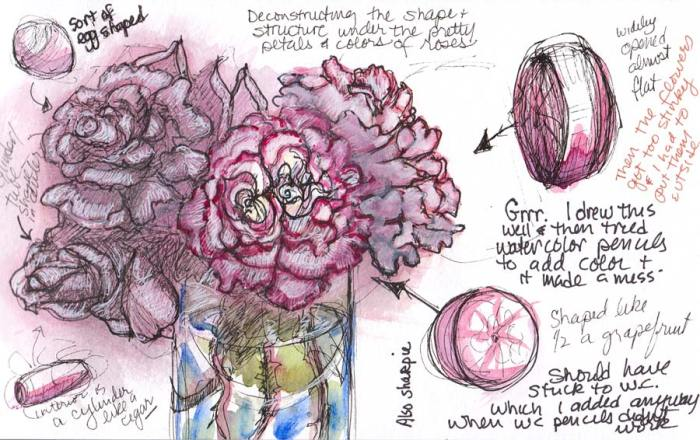 Stolen Roses 2; ink, gouache, watercolor