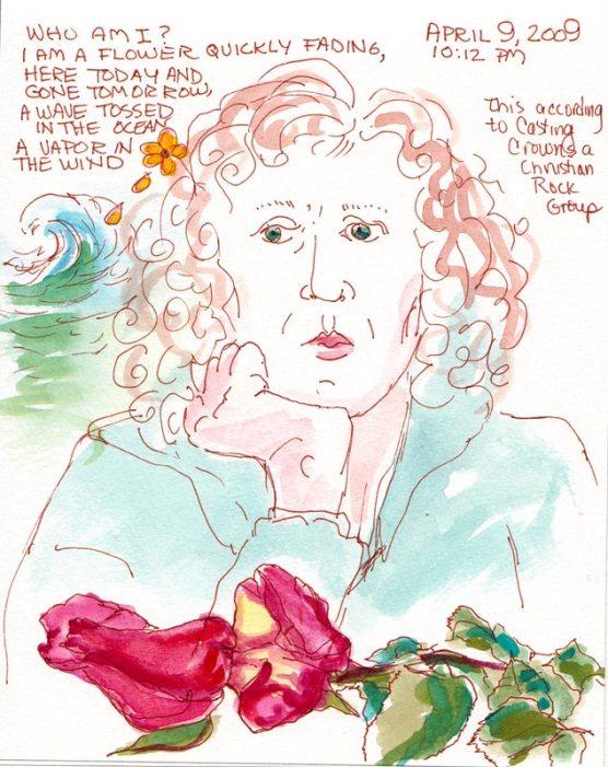 "Who Am I, Sepia Micron Pigma Ink & Gouache, 5.5x7.5"""