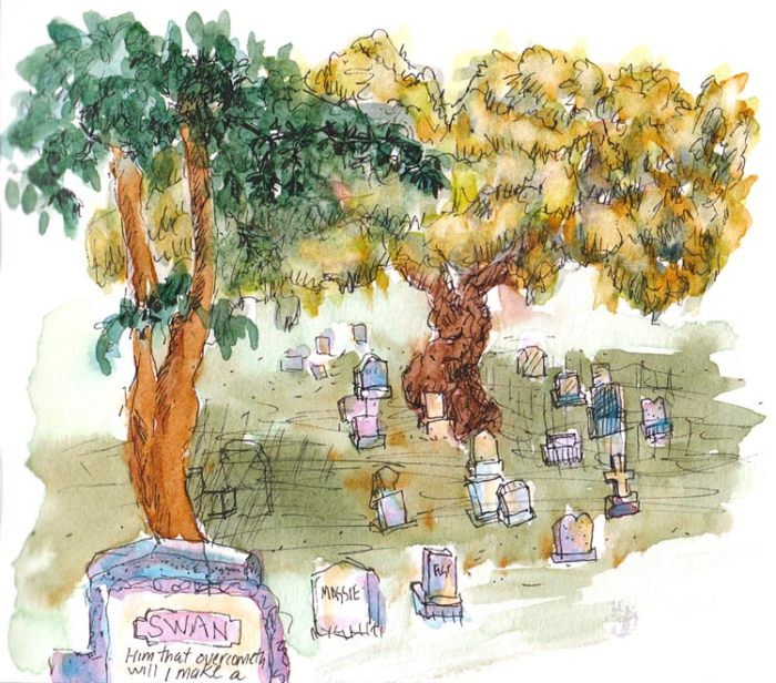Sunset Cemetery, ink & watercolor