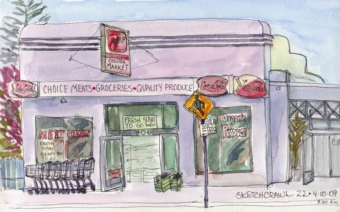 Colusa Market, Kensington, Ink & watercolor