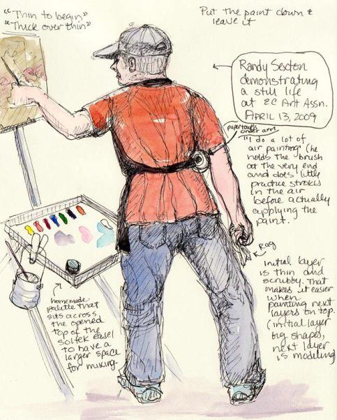 """Randy Sexton demonstrating, Ink & watercolor in 8x6"""" sketchbook"""
