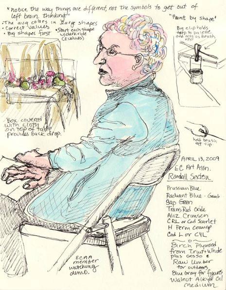 "Watching the Demo, Ink & watercolor in 6x8"" sketchbook"
