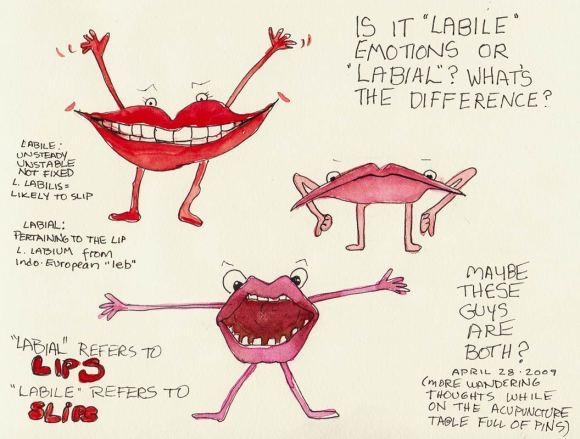 Labile Labial, ink & watercolor