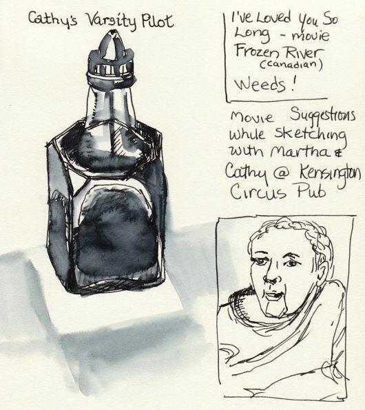 Ink bottle, drawn w/Pilot Varsity pen & water wash