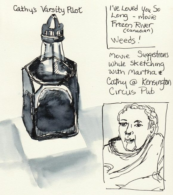 Ink bottle, drawn w/Pilot Varsity pen & water wash
