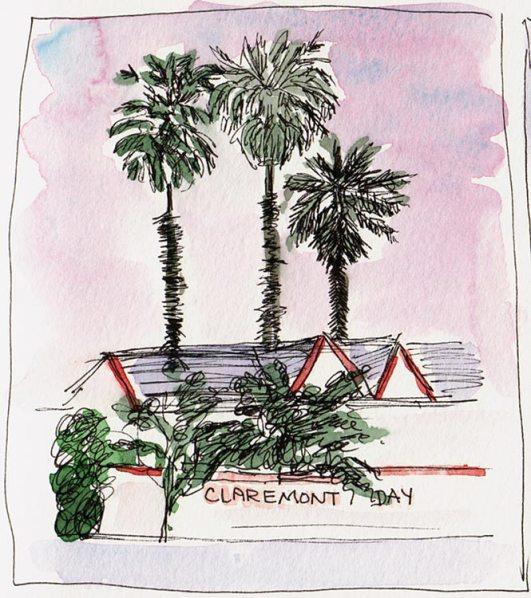 Claremont Day Nursery, Dusk; ink & watercolor