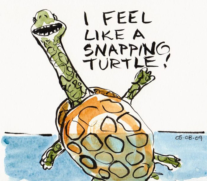 Snapping Turtle Me, brush pen and watercolor in Moleskine