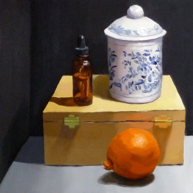 "Still Life with Tangelo, oil on gessobord, 12x12"" (Personal collection)"