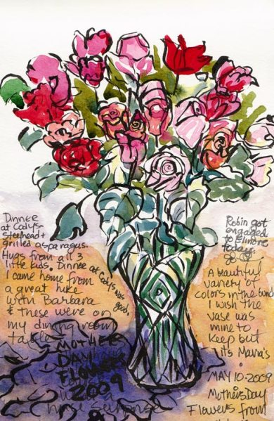Mothers' Day Flowers #1, ink & watercolor