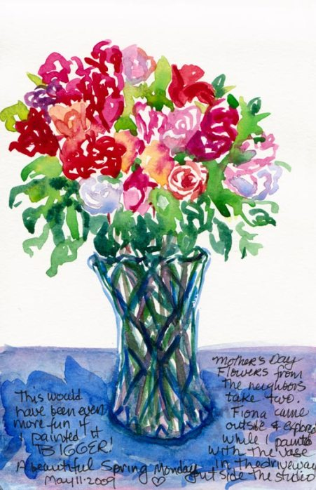 Mothers' Day Flowers #2, ink & watercolor