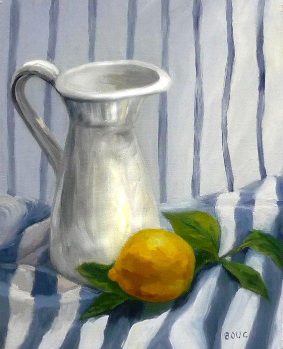 Stripey Still Life with Lemon