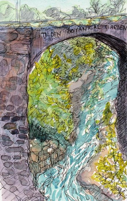 "Bridge & Creek, ink & watercolor, 5x7"""