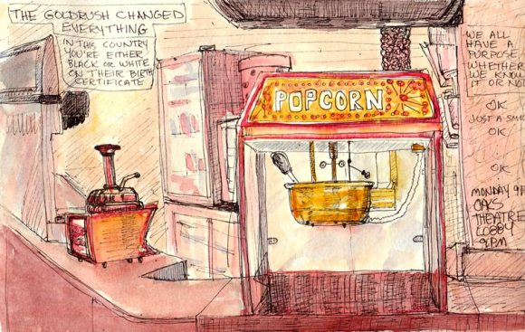 Oaks Theatre Popcorn Machine, Berkeley, ink & w/c