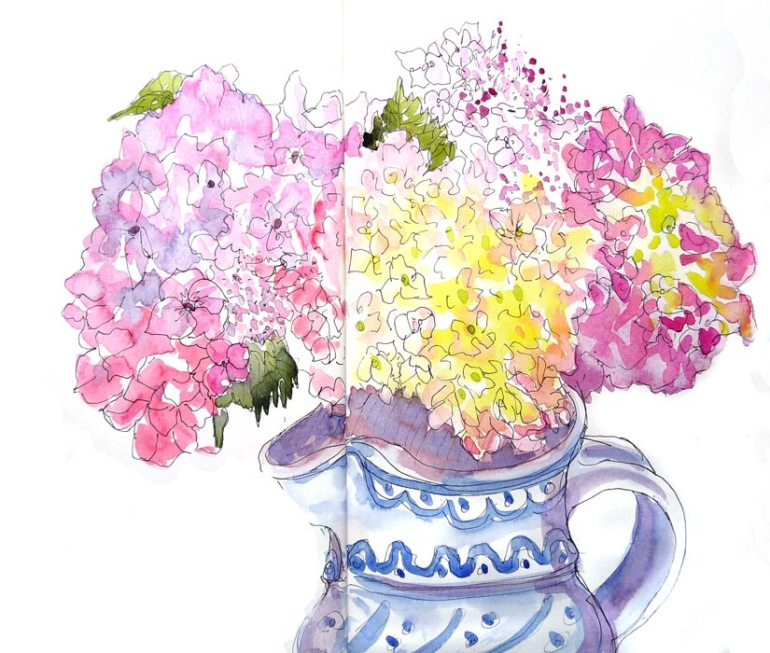 "Hydrangeas in Pitcher, 9x11"", ink & watercolor"