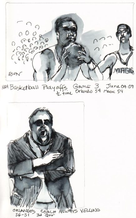 NBA players and yelling manager, ink