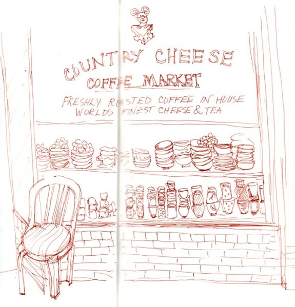 Country Cheese, Sepia Micron Pigma, 9x8""