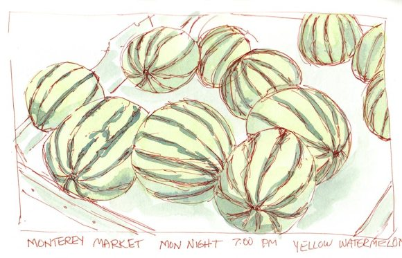 Monterey Market Watermelons, ink & watercolor, 6x9""