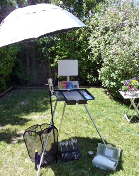 Plein Air set up with ShadeBuddy Umbrella