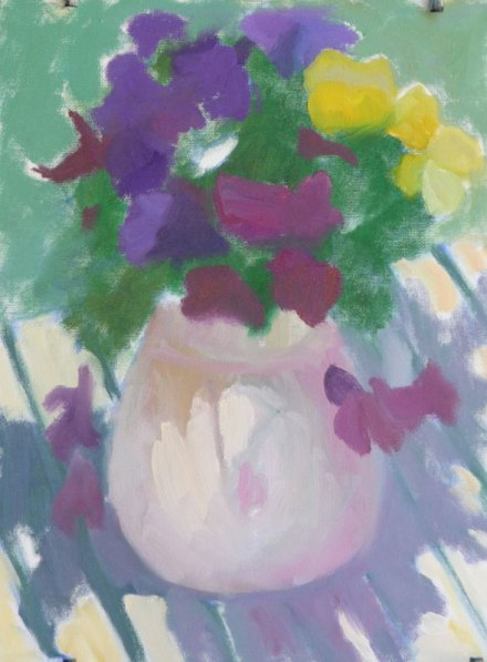 Pansies Plein Air WIP #1