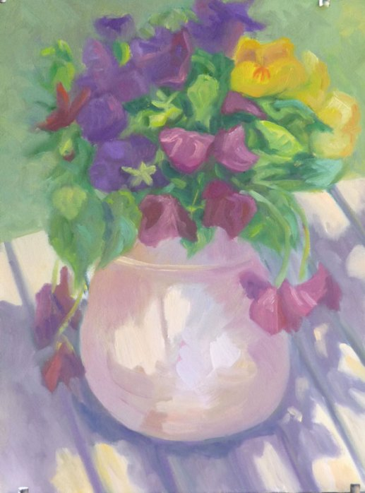 Pansies Plein Air WIP #2