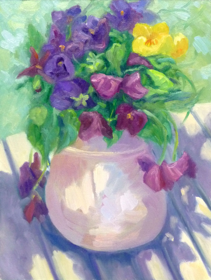 Pansies in Pitcher Plein Air, oil on panel 12x9""