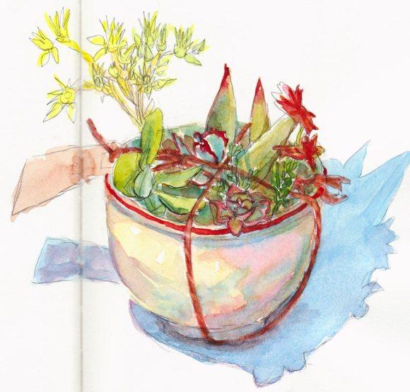 "Succulent Garden in a Bowl, watercolor 9x6"""