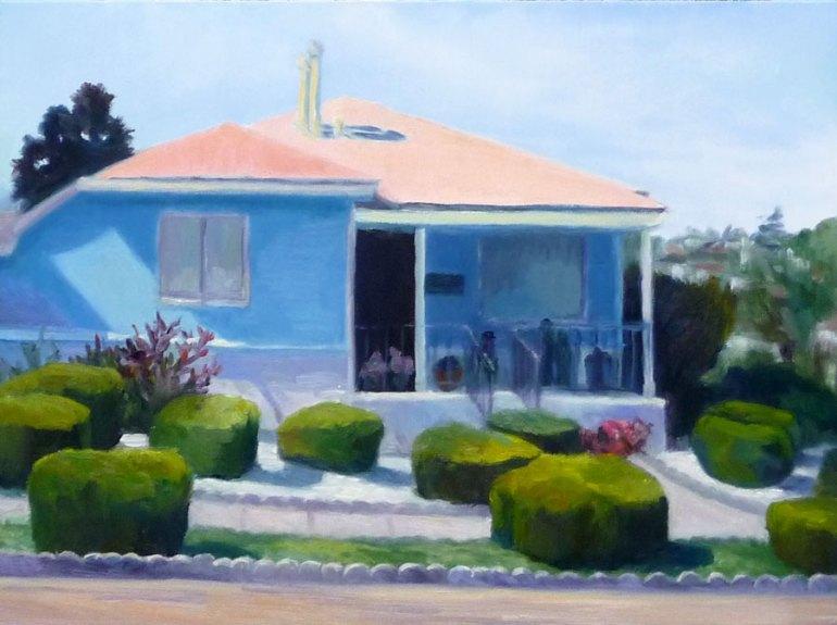 "Annex Smurf House, oil on Gessobord, 9x12"""