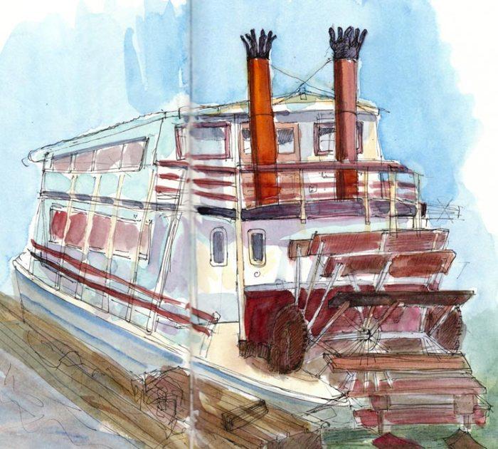 Paddlewheel Benicia, ink & watercolor 9x12