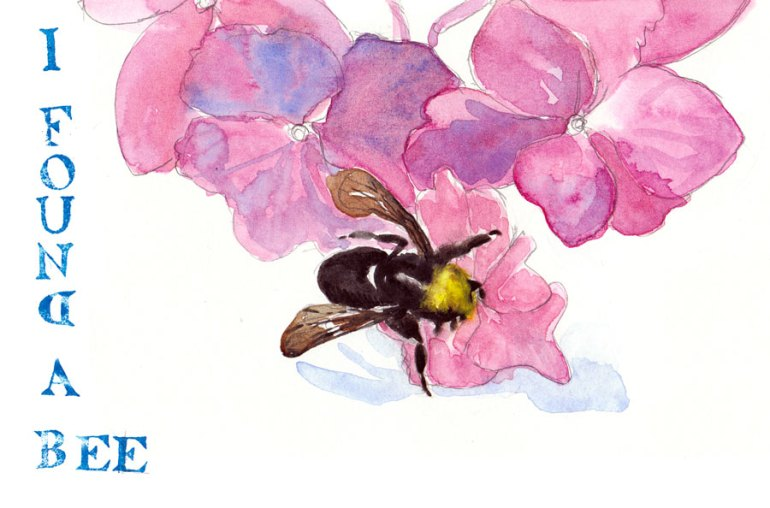 I Found a (dead) Bee, watercolor & rubber stamps