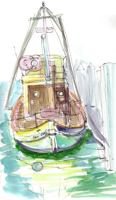 The Squid Boat, ink & watercolor, 9x6""
