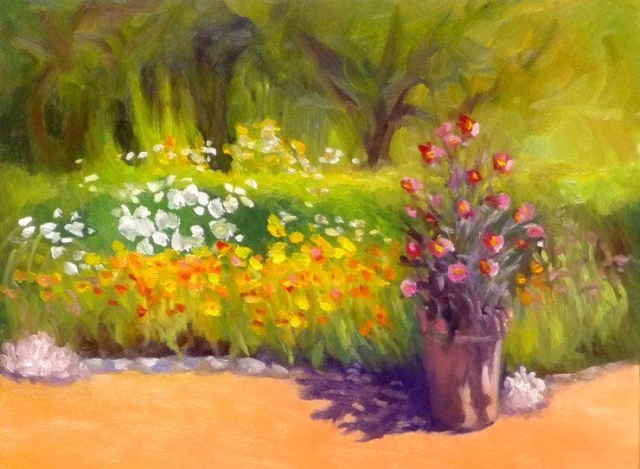 """Blake Gardens Late Afternoon, oil on panel, 9x12"""""""