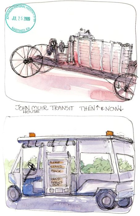 John Muir Transit Then and Now, ink & watercolor