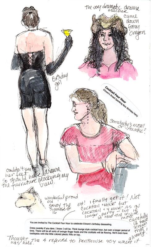 The Party Girl, ink & watercolor in sketchbook
