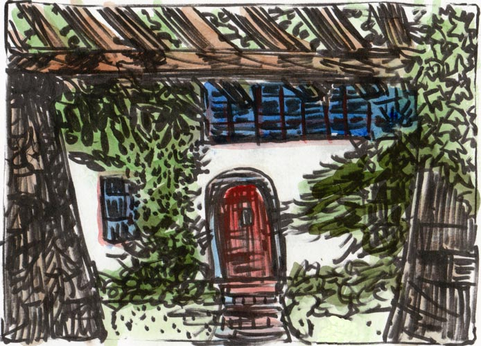Near Berkeley Rose Garden #1,  ink & watercolor